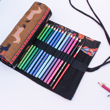 купить Pencil Wrap 36/48/72 Holes Pen Pencil Case Stationary Roll Pouch Makeup Brush Pen Holder Storage Bag по цене 403.16 рублей