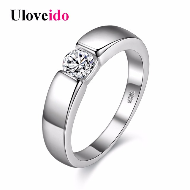 uloveido rings for men silver color anillos mujer cubic zirconia vintage engagement ringen wedding ring men - Wedding Ring Men