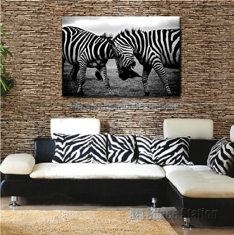 African Zebra Modern Decorative Canvas Poster Print Large Nature ...