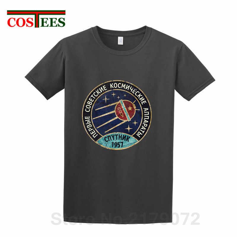 2018 Yeni Vintage Rusya CCCP Yuri Gagarin T-Shirt erkekler Grubu Ekibi Sovyet Retro Tees Sputnik V01 Uzay Keşif Programı T gömlek