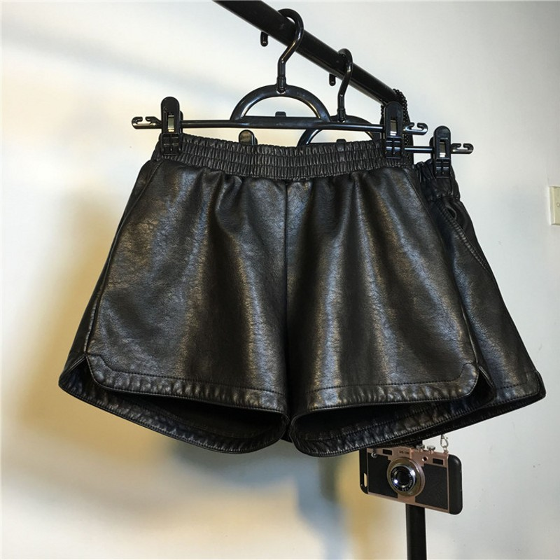 Leather Shorts Women 2019 Autumn WInter Elastic Waist A Linen Wide Leg Shorts 2 Colors Short Trousers Women Drop Shipping