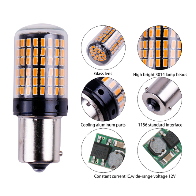 1x 3014 144smd CanBus S25 1156 BA15S P21W LED BAY15D BAU15S PY21W lamp T20 LED 7440 W21W W21/5W led Bulbs For Turn Signal Light 2