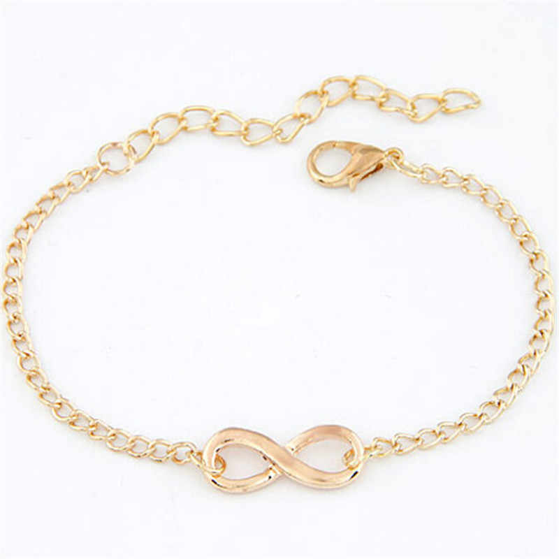 L040 Hot minimalista Punk Vintage Bijoux moda encanto infinito 8 pulseras para mujeres regalo hombres cadena pequeños brazaletes joyería barata