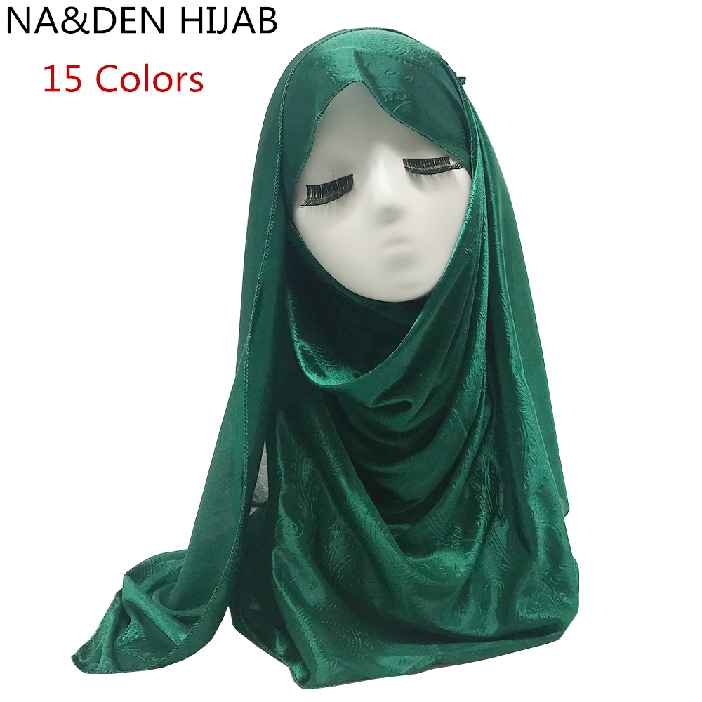 15 Colors Scarf women silk-like polyester shadow Paisley pattern shawl plain solid bandana foulard hijab Muslim wraps 10pcs/lot(China)