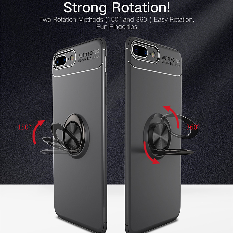 Phone Cases For Iphone 8 7 plus Magnetic Finger Ring Holder Case Luxury 360 kickstand Silicone Tpu Cover For Iphone 7plus 8plus