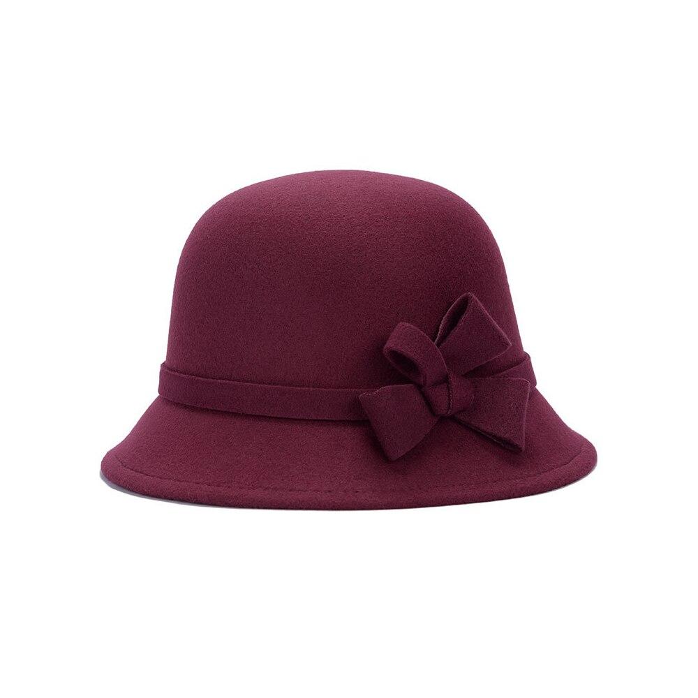 Широкополая шляпа винтажные шляпы дамская шляпа с бантом Повседневная шерстяная зимняя фетровая шляпа Регулируемая пляжная дорожная - Цвет: wine red