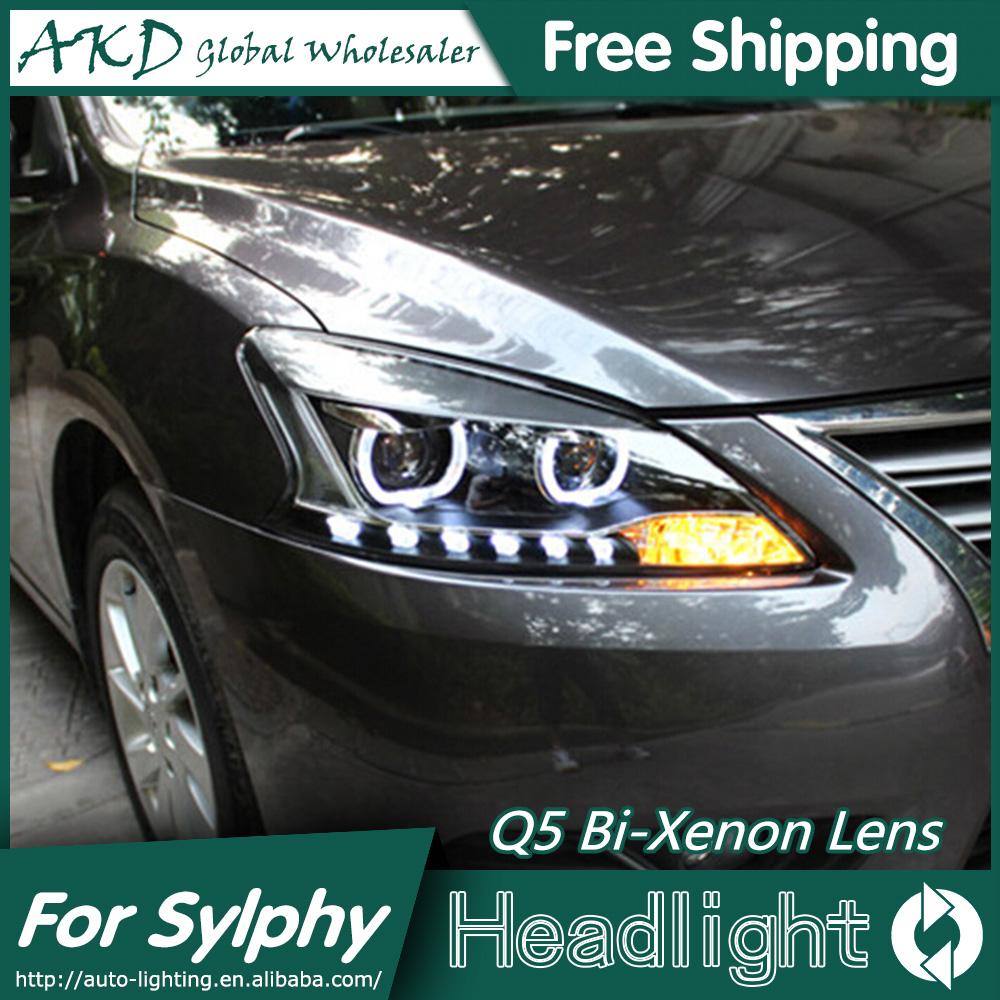 AKD Car Styling for Nissan Sylphy Headlights 2012-2015 Sentra LED Headlight LED DRL Bi Xenon Lens High Low Beam Parking akd car styling for nissan teana led headlights 2008 2012 altima led headlight led drl bi xenon lens high low beam parking