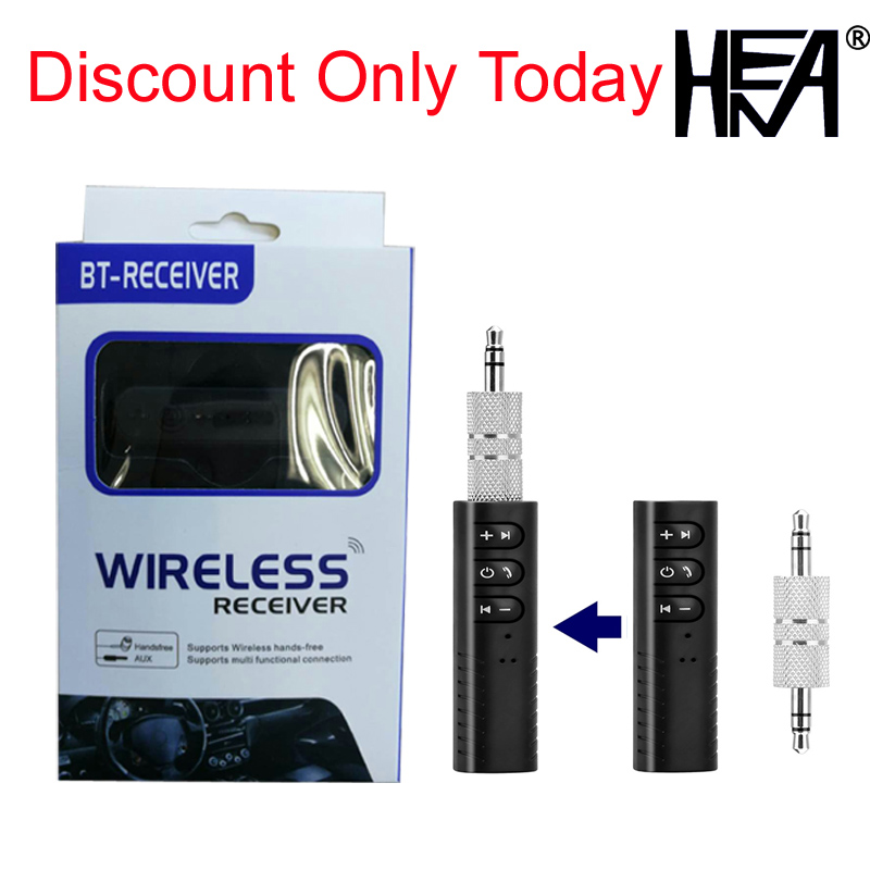 HENA 3.5mm Wireless Hands Free Bluetooth Car Kit AUX Stereo Receiver Portable Car Home Audio Adapter Earphone Headset BT Stick mpow new bluetooth receiver portable wireless streambot adapter hands free car kit for speaker home car streaming audio system