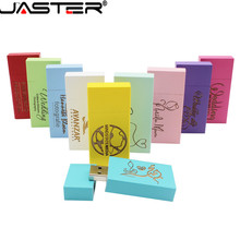 JASTER hot selling creative Wooden colorful squares real capacity USB 2.0 4GB/8GB/16GB/32GB/64GB flash drive 5pcs free LOGO