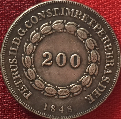 1848 Бразилия 200 Reis Монеты Скопируйте Бесплатная доставка