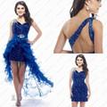 Royal Blue Sequined Cocktail Dress Short Prom Dress Removable Skirt Vestido De Festa Curto One Shoulder High Low Dress