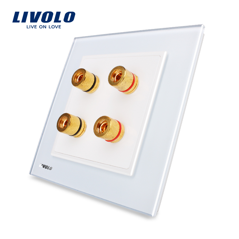 Livolo UK standard 2 Gangs Home Wall Sound/Acoustics Socket , White Crystal Glass Panel, VL-W292A-12