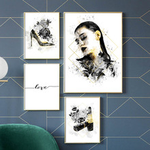 Fashion Girl Lipstick High Heels Wall Art Canvas Painting Nordic Posters And Prints Watercolor Pictures For Living Room