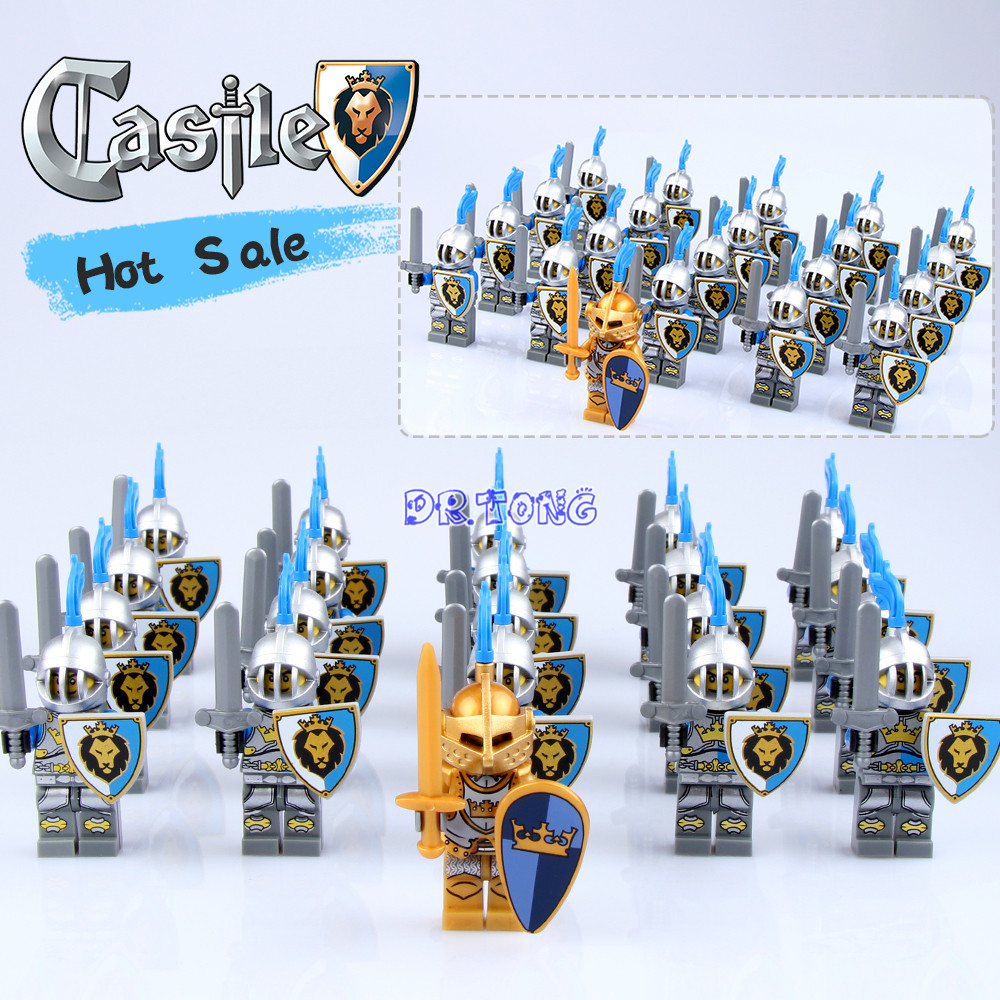DR TONG 21pcs lot Medieval Age Castle Knights Blue Crown Blue Lion Gold Kingdom Knights with