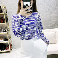 2019 spring and summer new women Blouse double V neck long sleeved puff sleeve Blue White 100% real silk printed shirt female