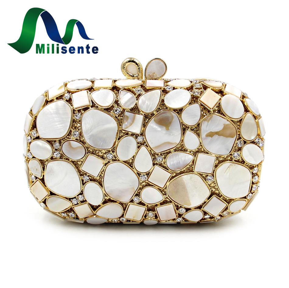 ФОТО Milisente Women Designer Handbags Precious Stone Crystal Real Shell Evening Bags Gold Wedding Bag Party Purse Lady Day Clutches