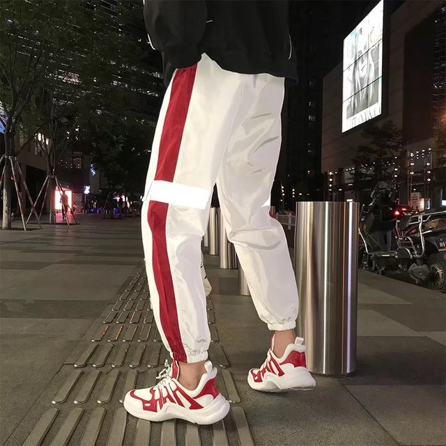 Outdoor 2019 summer autumn loose joggers sport style gym running Reflective elastic hip hop teenagers track pants men 3