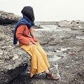 XianRan Primavera Mulheres Saias Longas Da Moda A Linha de Dobra Algodão Saias Alta Qualidade Frete Grátis