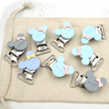 20pcs assorted Mint blue and grey  Miss mouse head shaped Baby Pacifier Clips Metal clip cute bow pacifier finding EA265