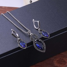 Sellsets New Fashion Antique Silver Color Vintage Jewelry Set Blue Crystal Drop Earrings And Necklace Sets For Women Party Gift