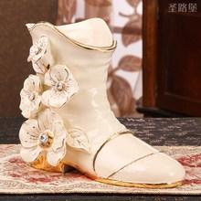 Europe ceramic Fashion creative shoes flower vase home decor crafts room decoration garden pot shoe porcelain figurines