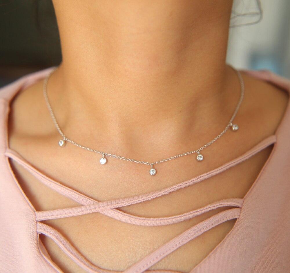 776824a12b5f Nueva llegada 925 plata esterlina 35 + 7 cm extender Cadena 3mm cz encanto  gota delicada cadena cz collar para chica