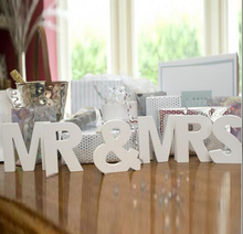 Set Solid 10cm Mr & Mrs Wooden Letters for Wedding Decoration Sign Top Table Present Decor