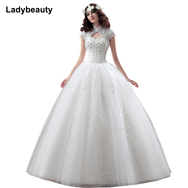 Lace Short Wedding Dress Beaded Sequin A Line Lace Wedding Dress 2019 Weeding Tulle Cap Sleeve