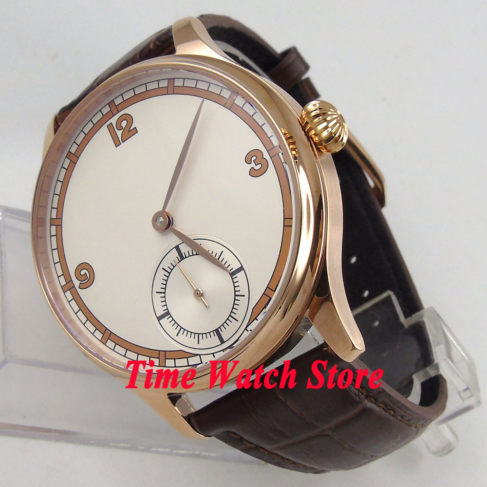 Corgeut watch 44mm golden case men's watch white simple dial golden hands mechanical 6498 hand winding movement Cor38 купить недорого в Москве