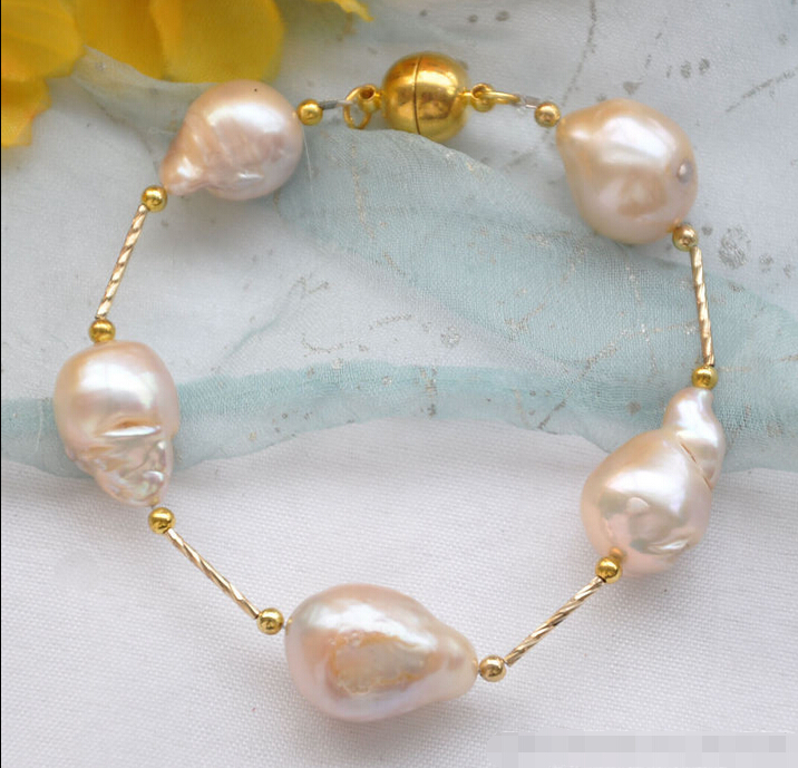 Hot sell Noble-REAL 8 17mm pink BAROQUE KESHI REBORN PEARL gild 5star bracelet @^Noble style Natural Fine jewe SHIPPING hyperset noble hs6012