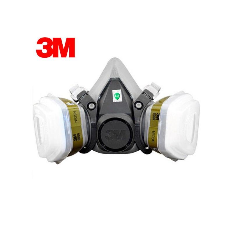 3M 6100+6006 Respirator Mask Half Face Respirator Renovated Laboratory Formaldehyde Gas Masks Protective Masks Painted R82027 7502 of reusable respirator mask gas mask portable respirator protective fire masks