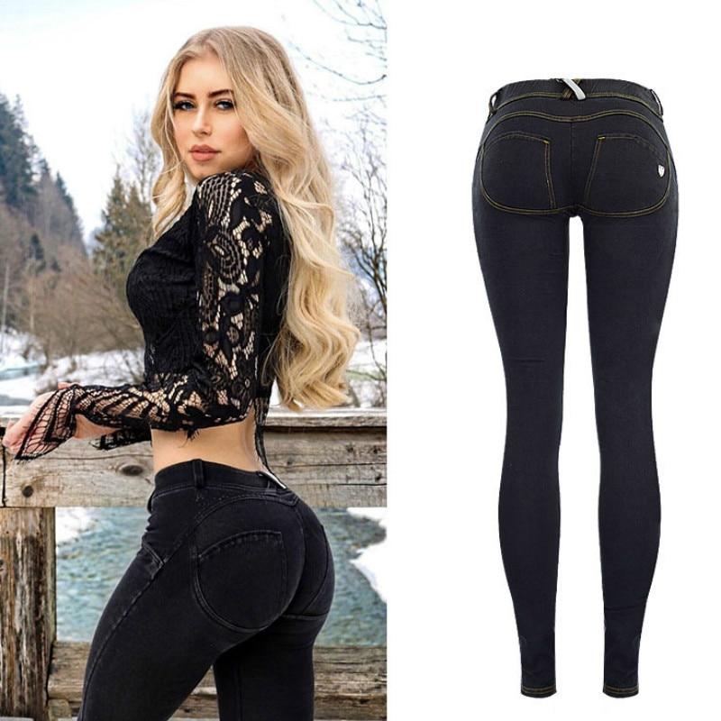 Low Waist Push Up   Jeans   Women Streetwear Skinny Pencil Pants Femme Fashion Super Stretch Slim Soft Legging Denim Pants Mujer