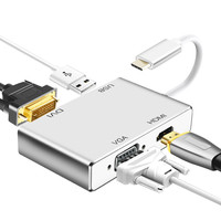 High Quality Type c to VGA DVI HDMI Cable Converter 4 in 1 USB C Adapter for Macbook Tablet Monitor Laptop