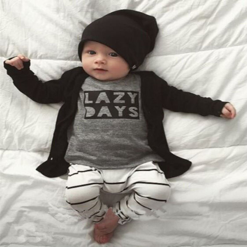 Baby boy girl clothing sets 2pcs suits ( Tops + Pants ) Infant Newborn baby boy's clothes set Cotton Letter Lazy Days outfits t shirt tops cotton denim pants 2pcs clothes sets newborn toddler kid infant baby boy clothes outfit set au 2016 new boys