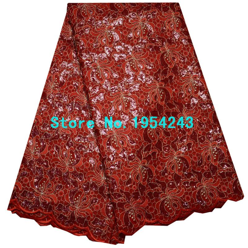 TG2U85 Special Knitted High quality Gold Sequin African Double organza lace with hand cut Swiss Cotton