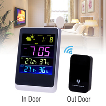 Big discount Wireless Weather Station Multi-functional Meteo Station Colorful LED Thermometer Humidity Meter Temperature Clock