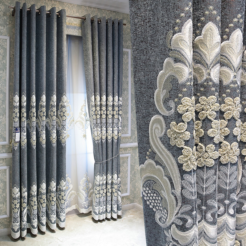 Custom Curtains European Court Embroidered High-end Luxury Gray Cotton Linen Thick Cloth Blackout Curtain Tulle Drapes B266