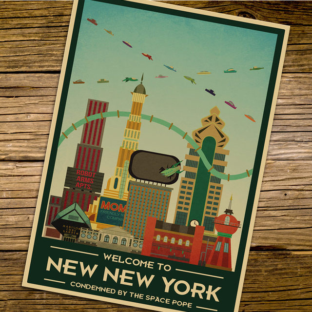 America chicago lakefront city travel poster retro kraft paper vintage print poster wall sticker home bar