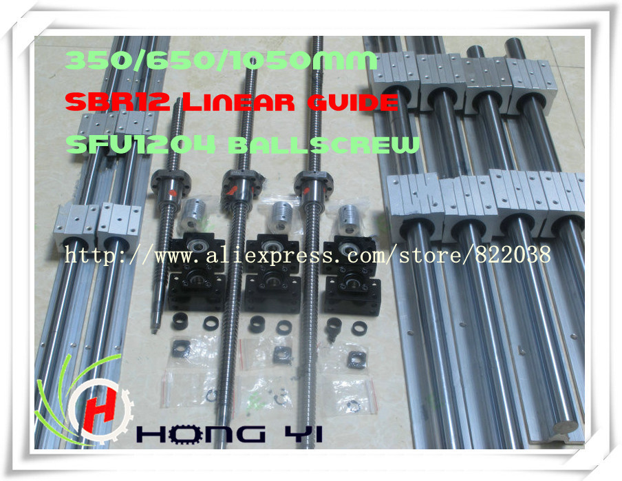 купить 2 x SBR12 L = 300/600/1000MM linear guide & BALL SCREW RM1204 =350/650/1050MM & 3 x BK10 BF10 & 3 x Couplers 6.35 * 8 по цене 10148.63 рублей