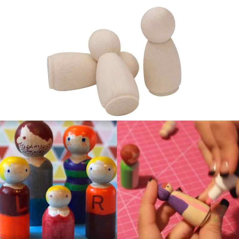 Solid Hard Wood People Different Size Natural Unfinished Ramp Preparation Paint Or Stained Wooden Family Wood Peg Dolls