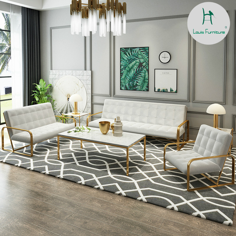 US $203.9 |Louis Fashion Living Room Chairs Iron Art Sofa Office Workroom  Brief Modern Small Apartment Single Person Double-in Living Room Chairs  from ...