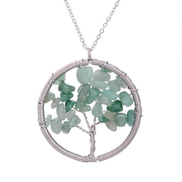 7 Chakra Tree Life Crystal Natural Stone Pendants Necklaces 4