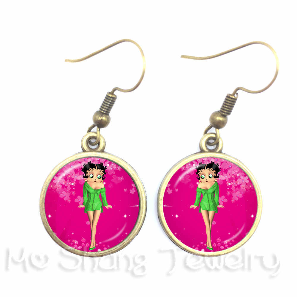1pc Sexy Betty Boop Earrings Red Cartoon Picture Art Pendant Glass Dome  Earrings For Women Collier Femme 2018
