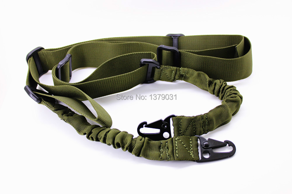 "Rifle Sling - Tactical Quick Release Bungee 2 puntos Coyote Tan Ajustable 60 ""+ Verde Ejército FreeShiping"