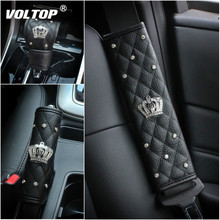 Fashion Diamond Crown Crystal Car Interior Accessories Seat Belt Pad Rhinestones Leather Gear Shifter Cover Handbrake Ornaments