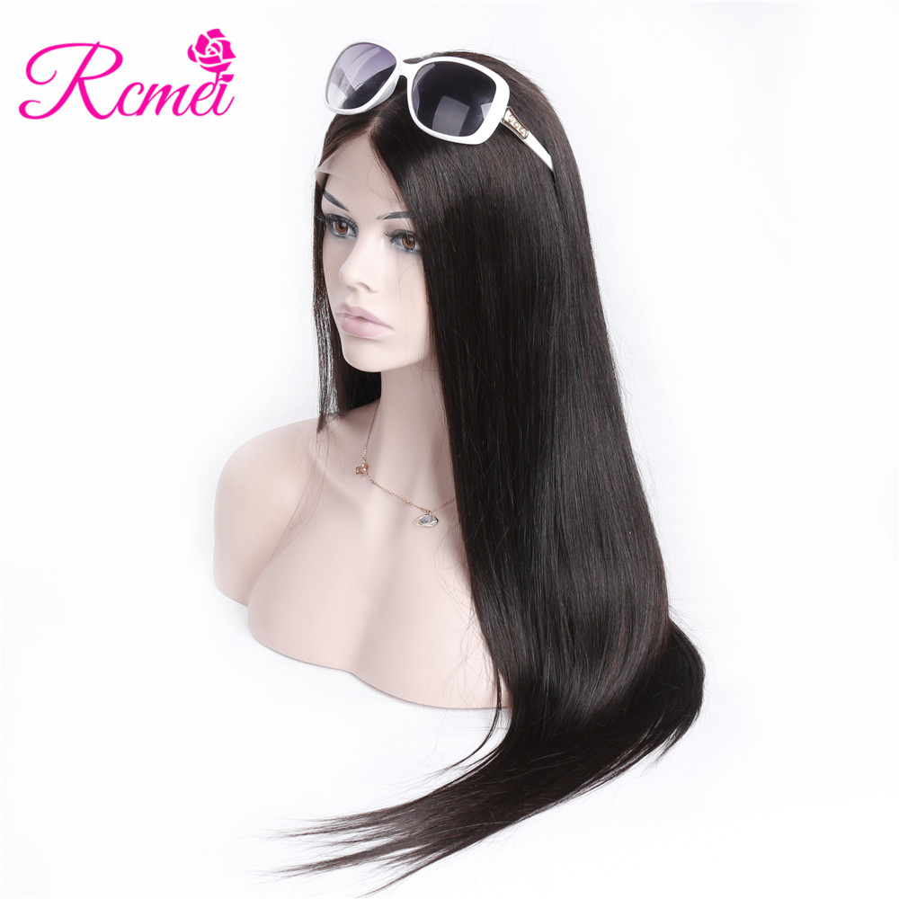 Rcmei Brazilian Straight Human Hair Wigs 180 Density 360 Lace Frontal Wigs Pre Plucked With Baby