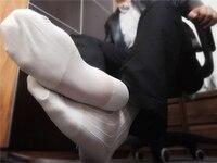 Men Silk Socks Good Qulity New Style Gay Sexy Sheer Socks Men Formal Suit Stripe Socks