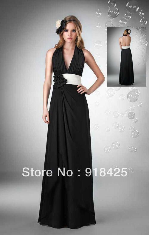 Floor Length Sexy Backless Chiffon Halter Top Black and ...Halter Top Backless Wedding Dresses