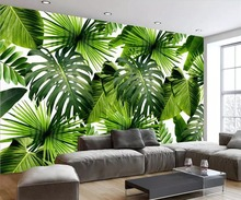 Custom 3D Mural Wallpaper Southeast Asia Tropical Rainforest Banana Leaf Photo Background Wall Murals Non-woven Wallpaper Modern custom mural wallpaper southeast asian tropical green banana leaf wallpaper bedroom living room background wall decor wallpaper