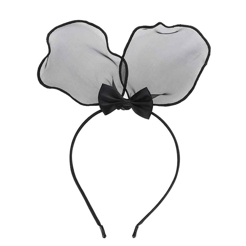 Новорожденных для маленьких девочек милый Микки с заячьими ушками Форма сетки Твердые повязка красивая мода лук Мечта принцессы серии оголовье